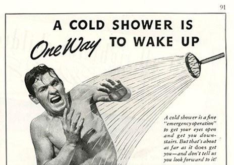 man gets cold shower